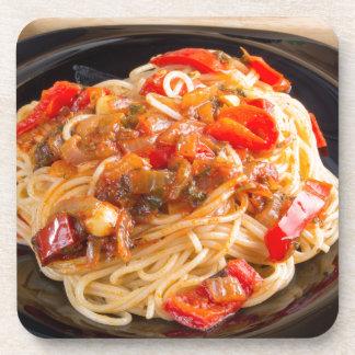 Pasta spaghetti with vegetable sauce beverage coaster