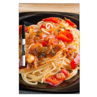 Pasta spaghetti with vegetable sauce dry erase board