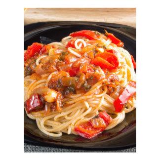 Pasta spaghetti with vegetable sauce letterhead