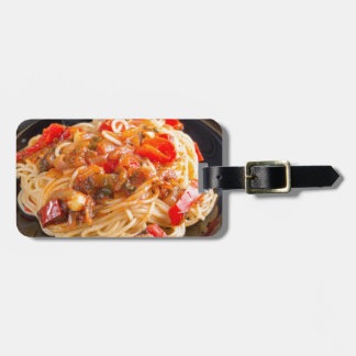 Pasta spaghetti with vegetable sauce luggage tag
