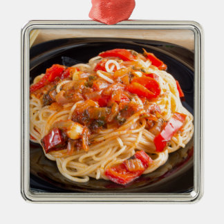 Pasta spaghetti with vegetable sauce metal ornament