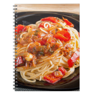 Pasta spaghetti with vegetable sauce notebook