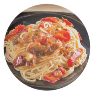 Pasta spaghetti with vegetable sauce plate