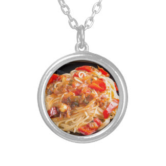 Pasta spaghetti with vegetable sauce silver plated necklace