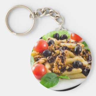 Pasta with bolognese sauce, beef meat, olives basic round button keychain