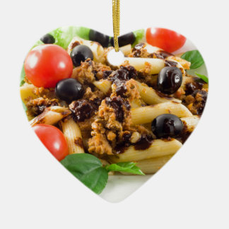 Pasta with bolognese sauce, beef meat, olives ceramic ornament