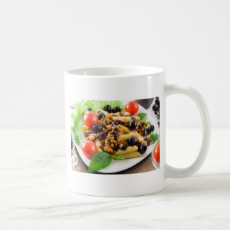 Pasta with bolognese sauce, beef meat, olives coffee mug