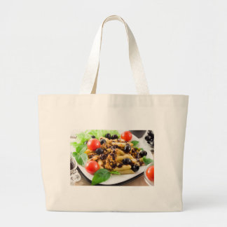 Pasta with bolognese sauce, beef meat, olives large tote bag