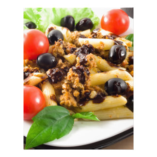 Pasta with bolognese sauce, beef meat, olives letterhead