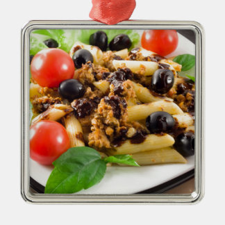 Pasta with bolognese sauce, beef meat, olives metal ornament