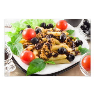 Pasta with bolognese sauce, beef meat, olives photo print
