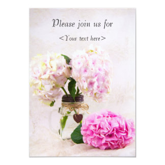 Pastal Hydrangeas In Mason Jar Birthday Invite