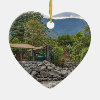 Pastaza River and Leafy Mountains in Banos Ecuador Ceramic Heart Ornament