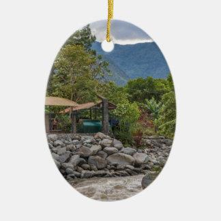 Pastaza River and Leafy Mountains in Banos Ecuador Ceramic Oval Ornament