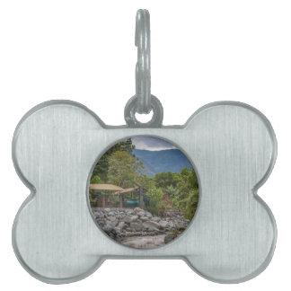 Pastaza River and Leafy Mountains in Banos Ecuador Pet Name Tags
