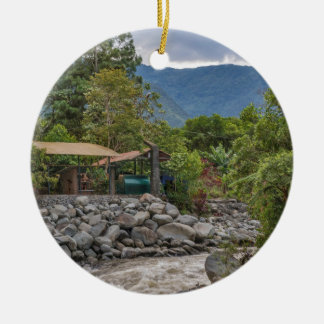 Pastaza River and Leafy Mountains in Banos Ecuador Round Ceramic Ornament