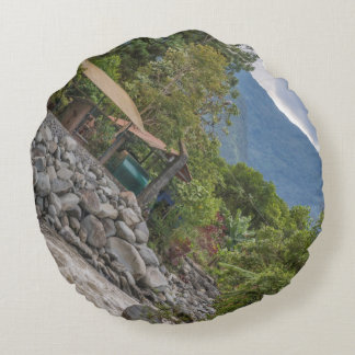 Pastaza River and Leafy Mountains in Banos Ecuador Round Pillow