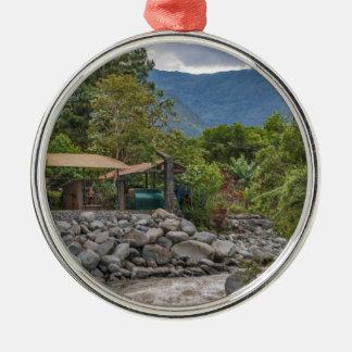 Pastaza River and Leafy Mountains in Banos Ecuador Silver-Colored Round Ornament