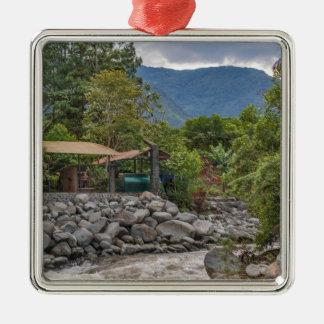 Pastaza River and Leafy Mountains in Banos Ecuador Silver-Colored Square Ornament