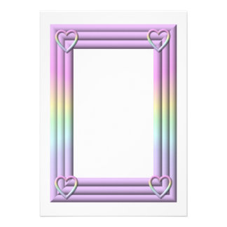 """Pastel """"3-D"""" Frame with hearts Invitation"""