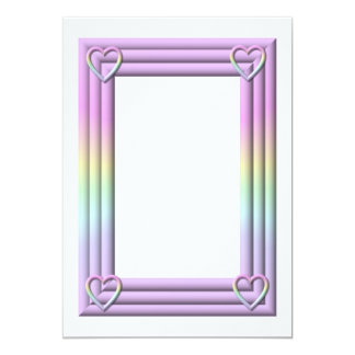 "Pastel ""3-D"" Frame with hearts Invitation"