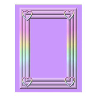 """Pastel """"3-D"""" Frame with hearts Postcard"""