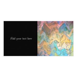 Pastel Abstract Art Simulated Glass Personalized Photo Card