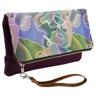 Pastel Abstract Stripes Fold Over Clutch