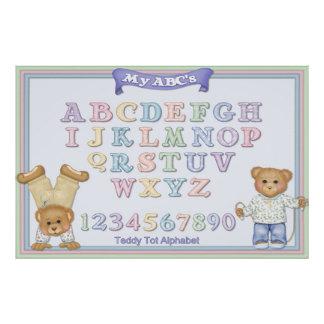 Pastel Alphabet Fun Teddy Bears Poster