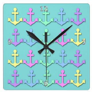 Pastel Anchor Pattern Wall Clocks