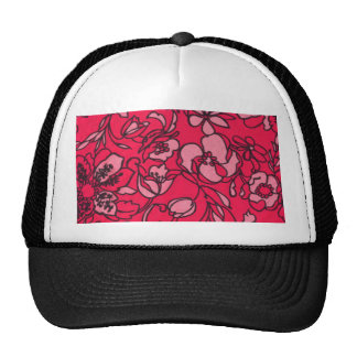 Pastel and Bright Pink Floral Pattern Mesh Hats