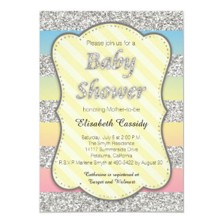 Pastel and Silver Glitter Baby Shower Invitation