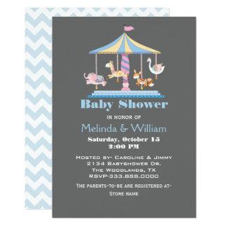 Pastel Animal Carousel Baby Shower Invitation