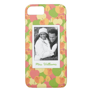 Pastel Apples Pattern | Add Your Photo iPhone 8/7 Case