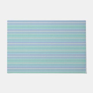 Pastel Aqua Blue Thin Stripes Floor Mat