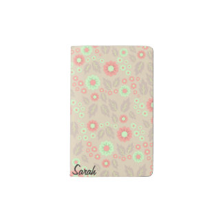 Pastel Autumn Flowers Pocket Notebook- Light Grey Pocket Moleskine Notebook