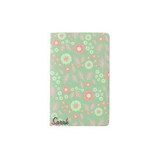 Pastel Autumn Flowers Pocket Notebook- Mint Pocket Moleskine Notebook