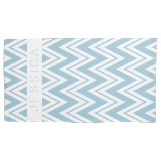 Pastel Baby Blue And White Chevron Pattern Pillowcase