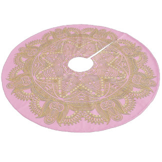 Pastel Baby Girl Pink Mandala Star Pattern Fleece Tree Skirt