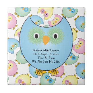 Pastel Baby Owl Nursery Theme in Blue Ceramic Tiles