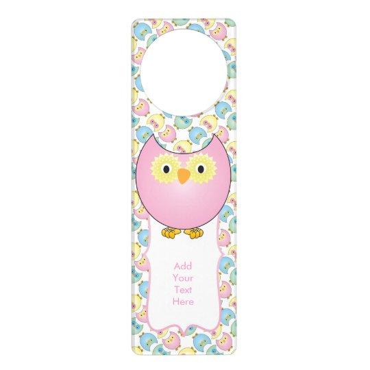 Pastel Baby Owl Nursery Theme in Pink Door Hanger