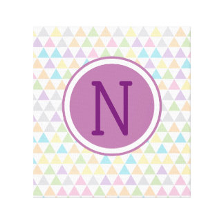 Pastel Baby Triangles Custom Initial Canvas Print