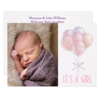 Pastel Balloon Baby Girl Photo Birth Announcement