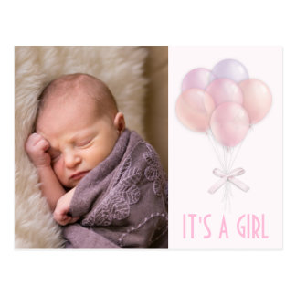 Pastel Balloon Baby Girl Photo Birth Announcement Postcard