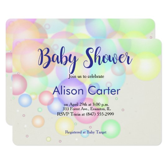 pastel balloons baby shower invitation