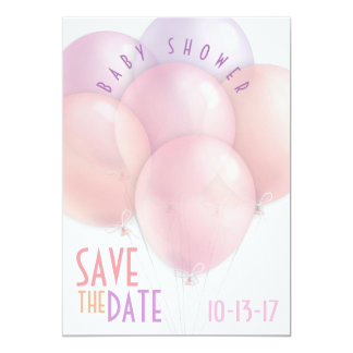 Pastel Balloons Baby Shower Save the Date Card