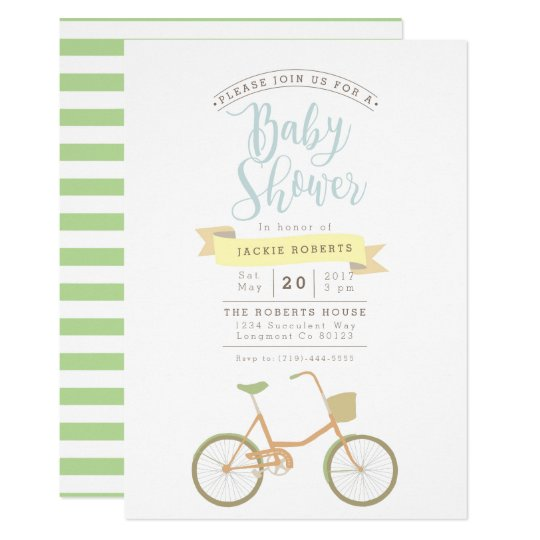 Pastel Bicycle | Baby Shower Invite