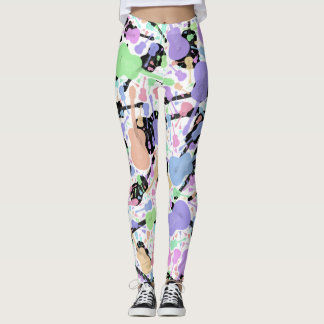 Pastel Black & White Guitar Leggings