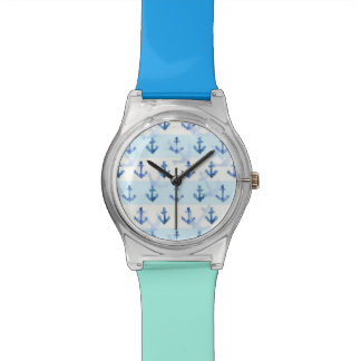 Pastel Blue Anchor Pattern Watches