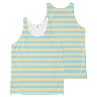 Pastel Blue and Beige Stripes All-Over-Print Tank Top